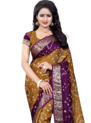 Fancy Art Silk Gold and Purple Traditional Designer Saree