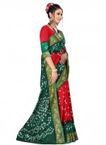 Fancy Art Silk Green and Red Designer Traditional Saree