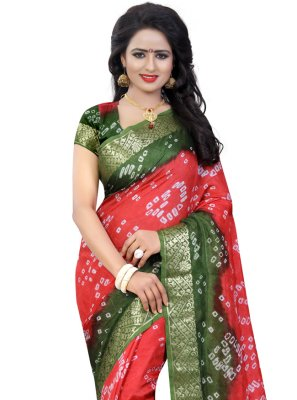Fancy Art Silk Traditional Saree in Green and Pink