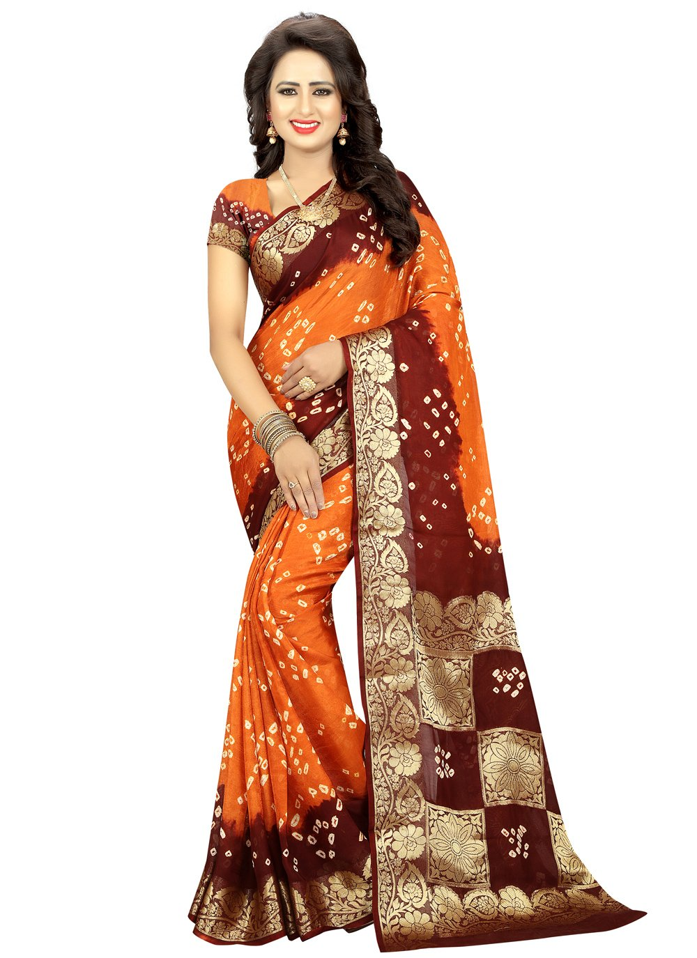Fancy Art Silk Traditional Saree in Orange