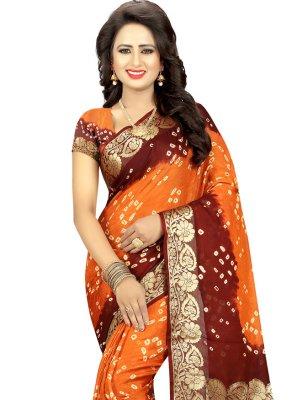 Fancy Art Silk Traditional Saree in Orange