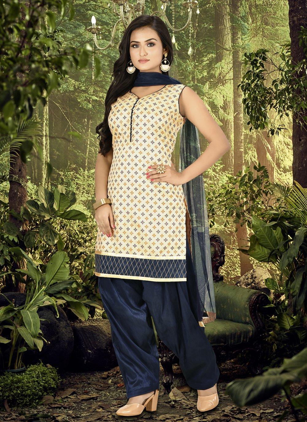 Fancy Banarasi Silk Designer Patiala Suit in Cream and Navy Blue