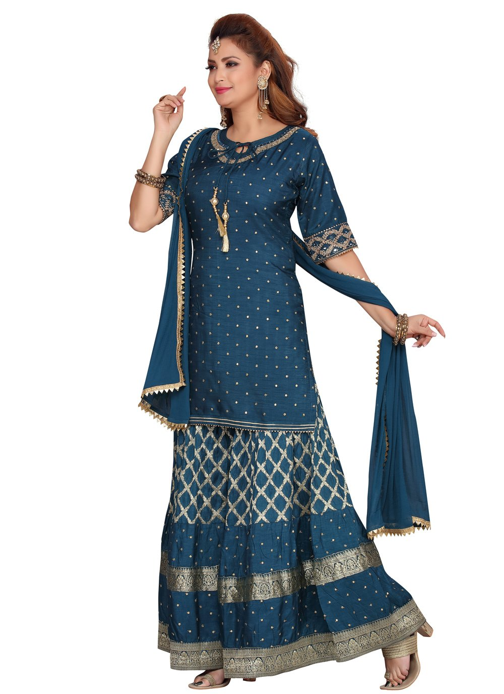 Fancy Banarasi Silk Readymade Suit in Navy Blue