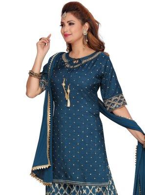 Fancy Banarasi Silk Readymade Suit in Navy Blue