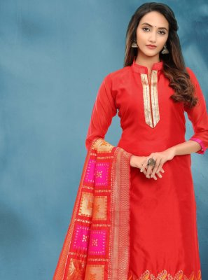 Fancy Banarasi Silk Red Churidar Salwar Kameez