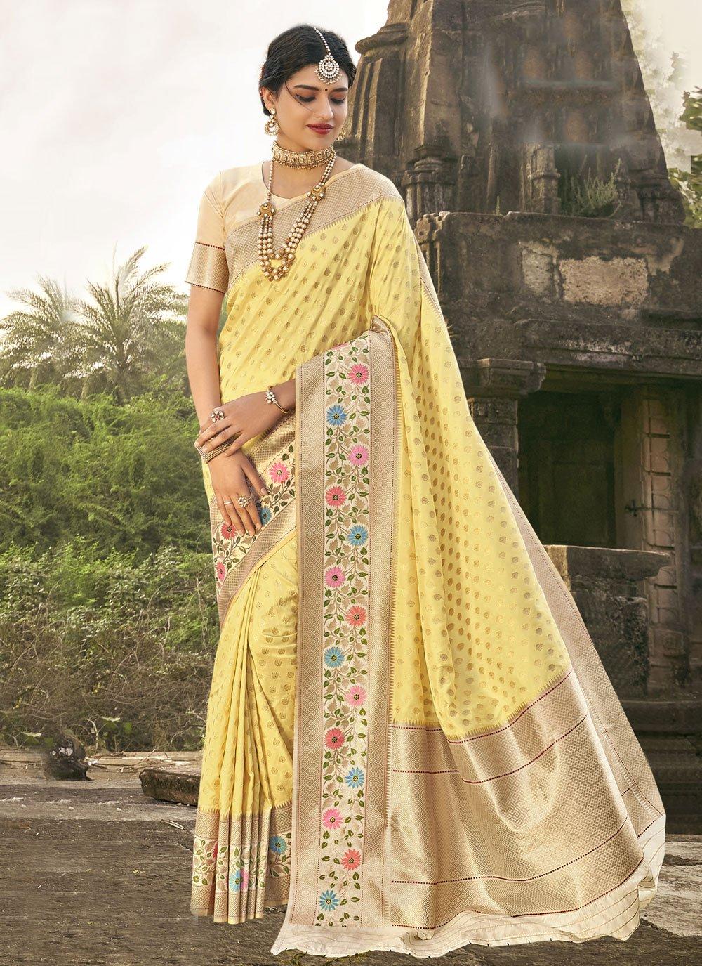 Fancy Banarasi Silk Traditional Saree in Yellow