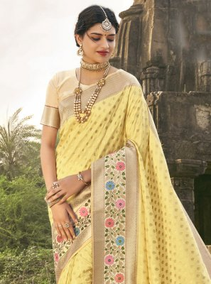 Fancy Banarasi Silk Traditional Saree in Yellow