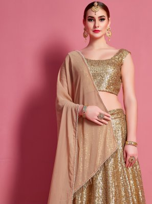 Fancy Beige A Line Lehenga Choli