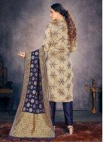 Fancy Beige Banarasi Silk Pant Style Suit