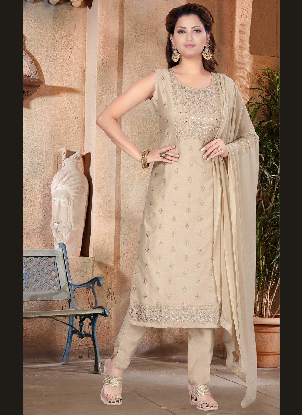 Fancy Beige Chanderi Designer Suit