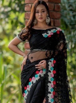 Fancy Black Net Classic Designer Saree