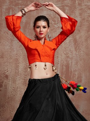 Fancy Black Tafeta Silk Lehenga Choli