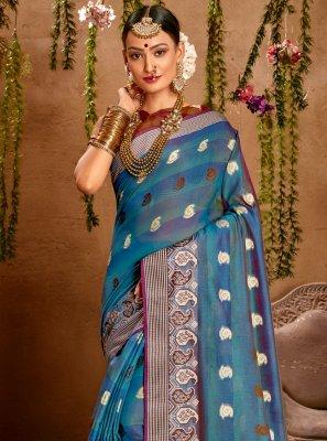 Fancy Blue Designer Traditional Saree