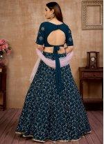Fancy Blue Faux Georgette Lehenga Choli