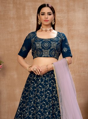 Fancy Blue Faux Georgette Lehenga Choli