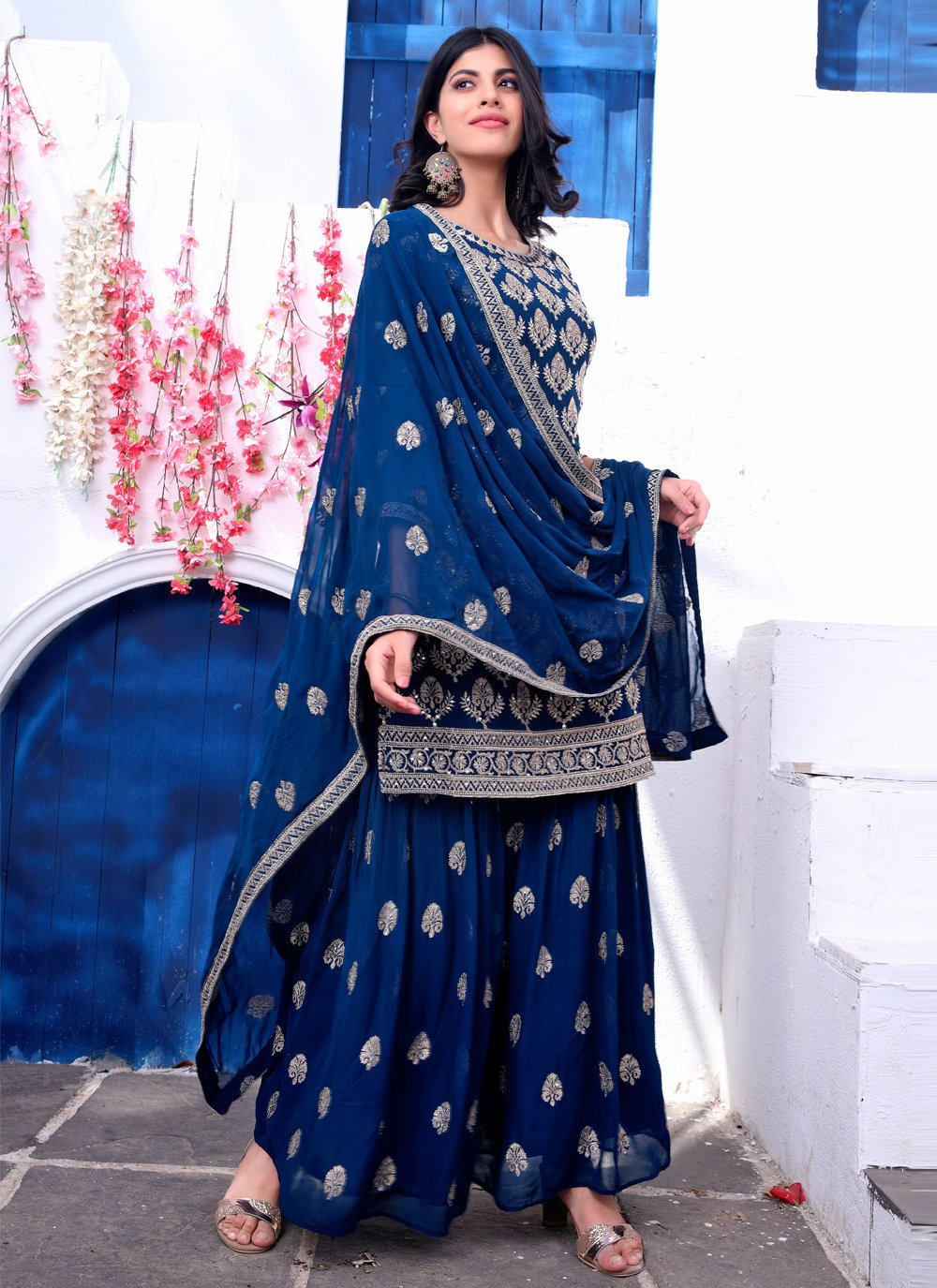 Fancy Blue Faux Georgette Readymade Suit
