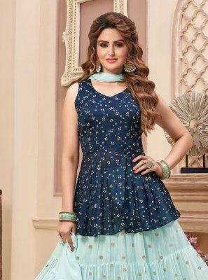 Fancy Blue Readymade Lehenga Choli