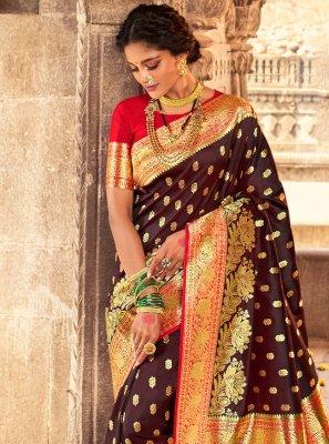 Fancy Brown Designer Traditional Saree
