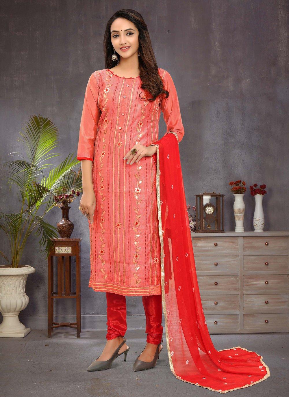 Fancy Chanderi Churidar Salwar Suit in Pink