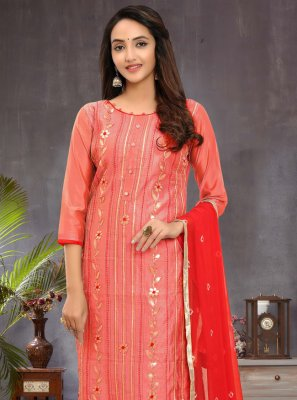 Fancy Chanderi Churidar Salwar Suit in Pink