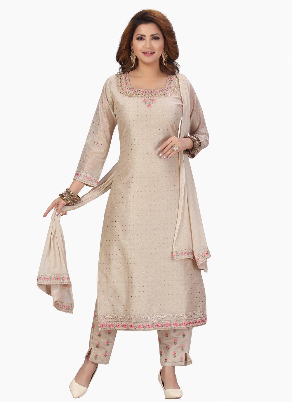 Fancy Chanderi Designer Straight Salwar Suit