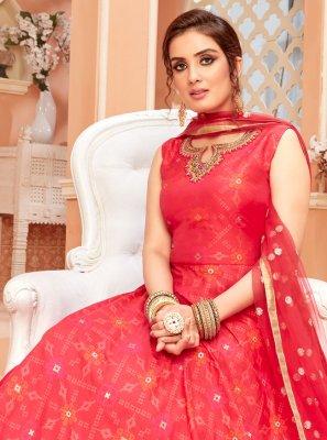 Fancy Chanderi Floor Length Anarkali Suit in Red