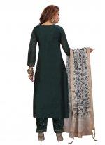 Fancy Chanderi Green Designer Palazzo Suit