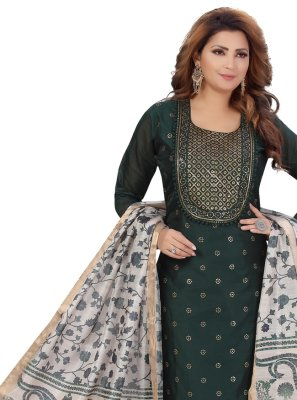 Fancy Chanderi Green Designer Palazzo Suit