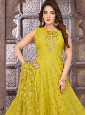 Fancy Chanderi Mustard Floor Length Anarkali Suit