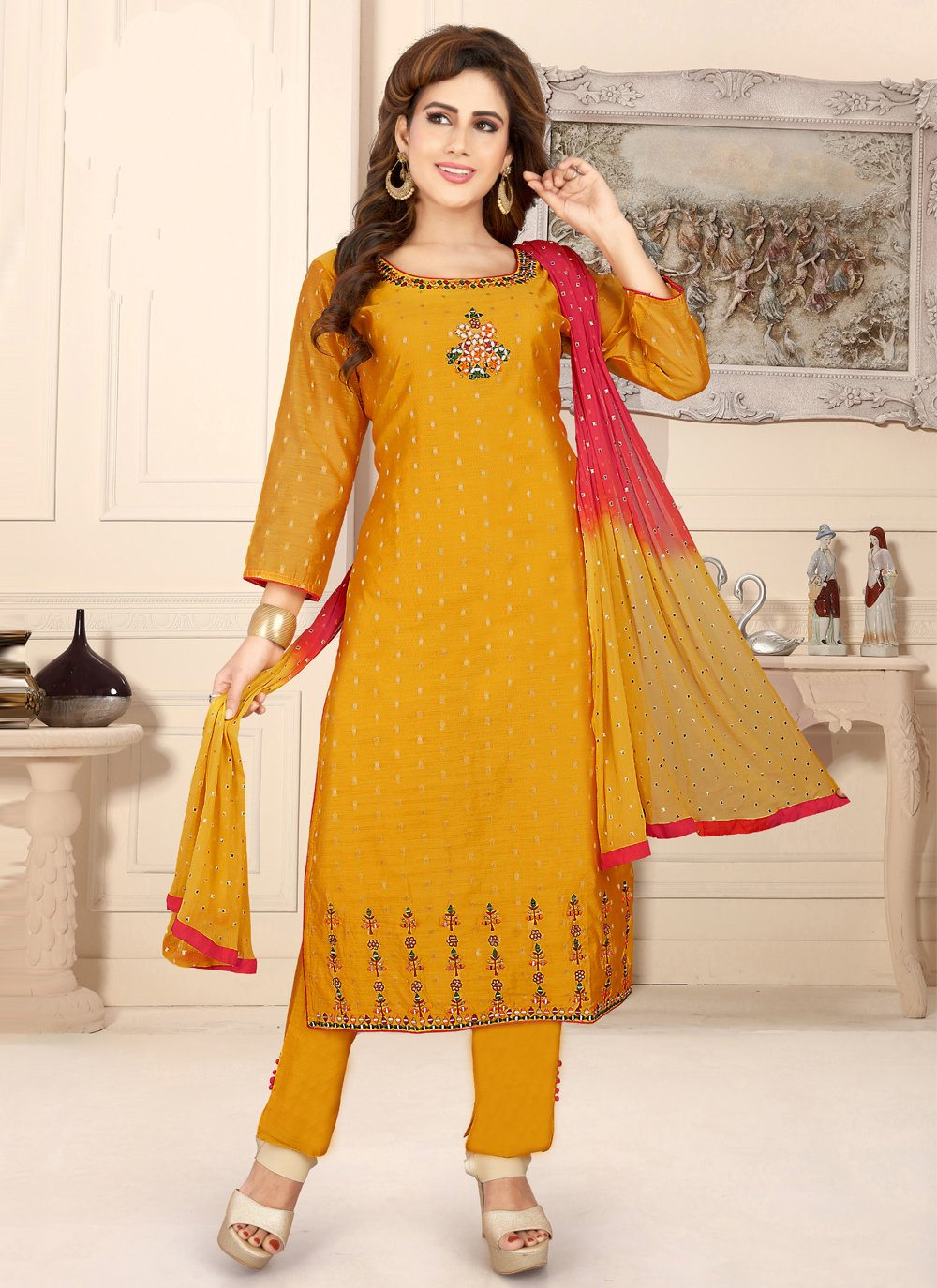 Fancy Chanderi Mustard Readymade Suit
