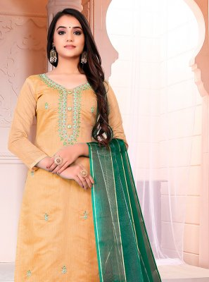 Fancy Chanderi Pant Style Suit in Yellow