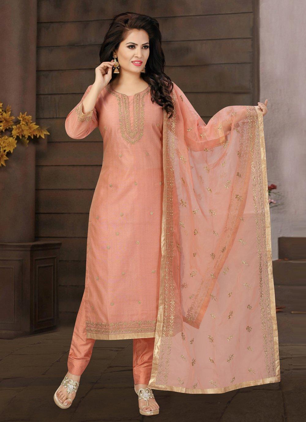 Fancy Chanderi Pink Readymade Suit