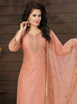 Fancy Chanderi Pink Readymade Suit