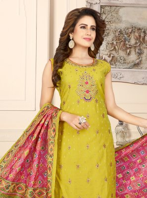 Fancy Chanderi Readymade Suit in Yellow