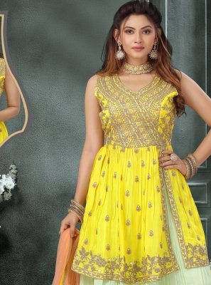Fancy Chinon Readymade Suit in Off White and Yellow