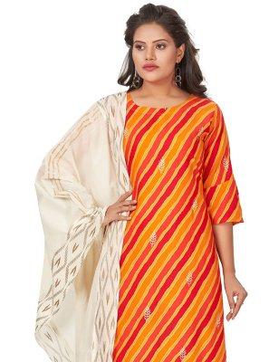 Fancy Cotton Designer Palazzo Suit in Orange