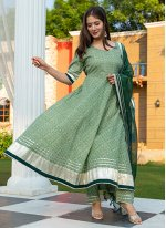 Fancy Cotton Green Readymade Suit