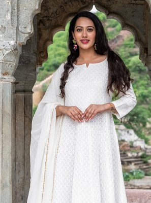 Fancy Cotton Off White Readymade Suit