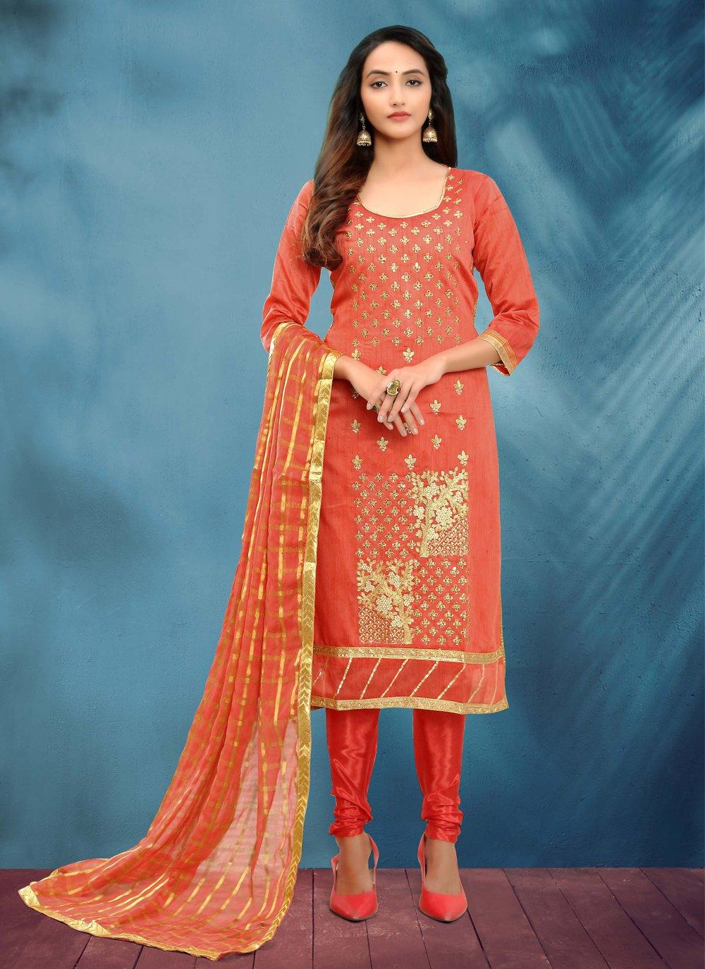 Fancy Cotton Silk Churidar Designer Suit