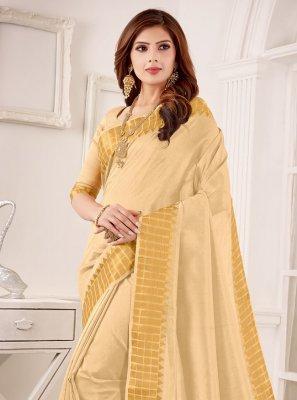 Fancy Cotton Silk Cream Classic Designer Saree