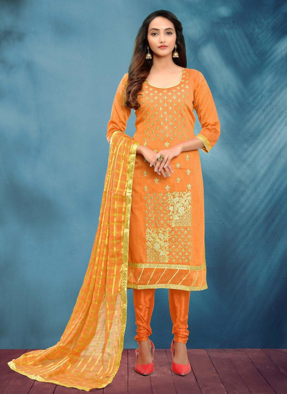 Fancy Cotton Silk Orange Churidar Designer Suit