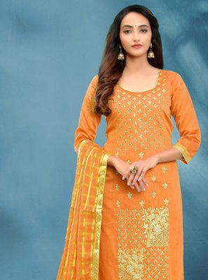 Fancy Cotton Silk Orange Churidar Designer Suit