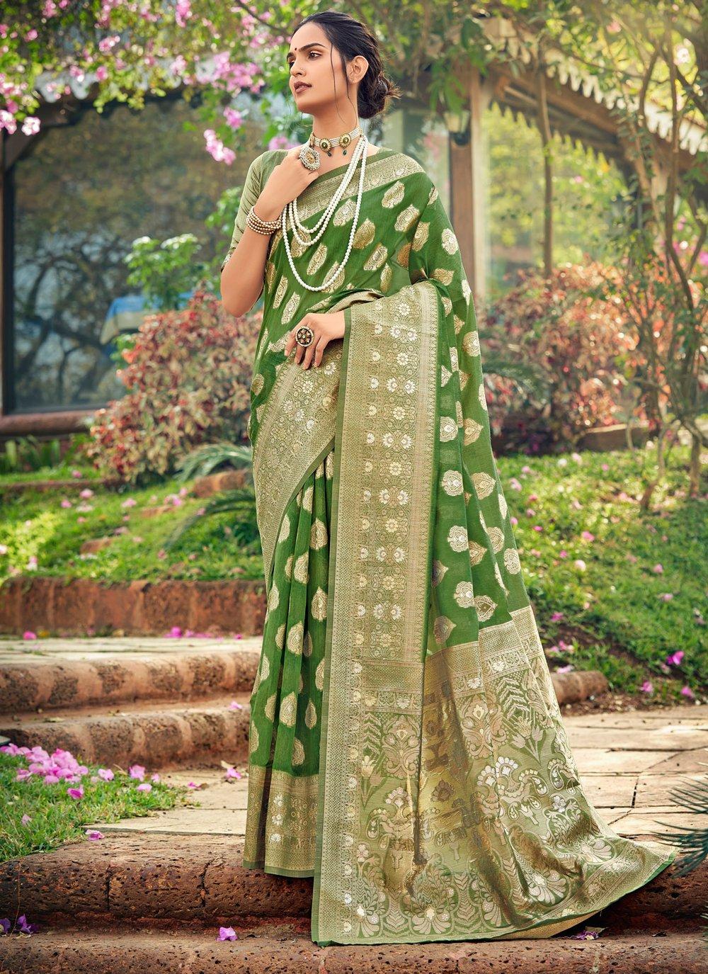 Fancy Cotton Silk Traditional Designer Saree in Green