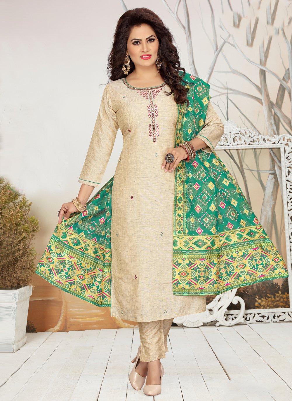 Fancy Cream Chanderi Readymade Suit