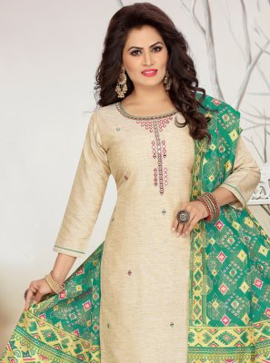 Fancy Cream Chanderi Readymade Suit