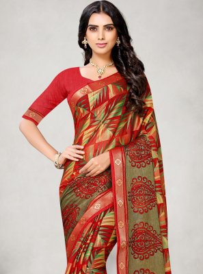 Fancy Fabric Abstract Print Printed Saree