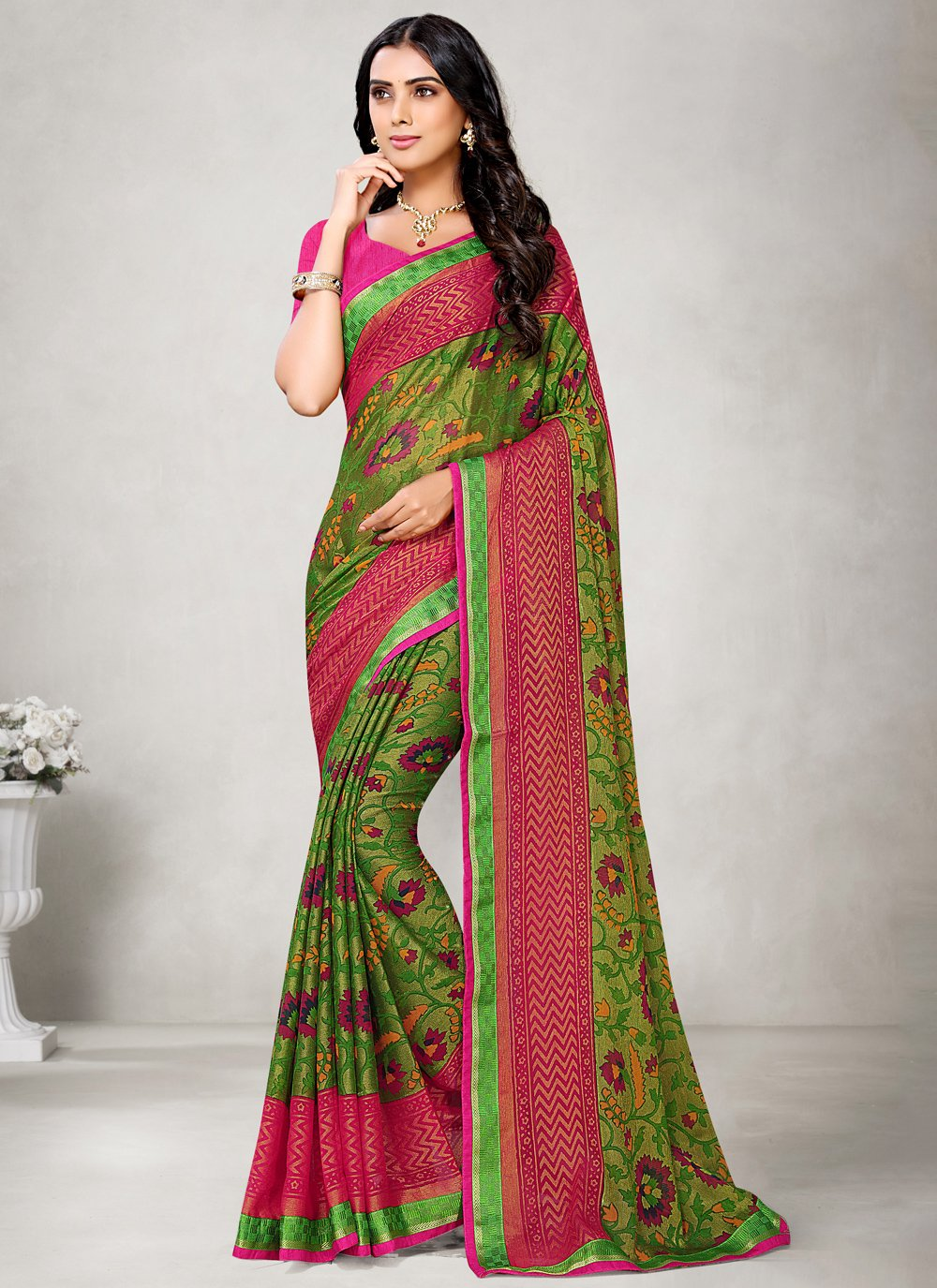 Fancy Fabric Abstract Print Printed Saree in Green