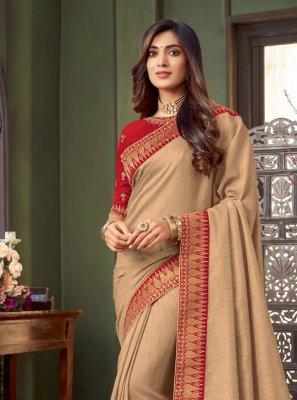 Fancy Fabric Beige Classic Designer Saree