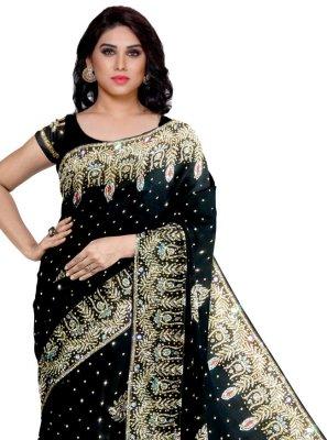Fancy Fabric Black Designer Saree