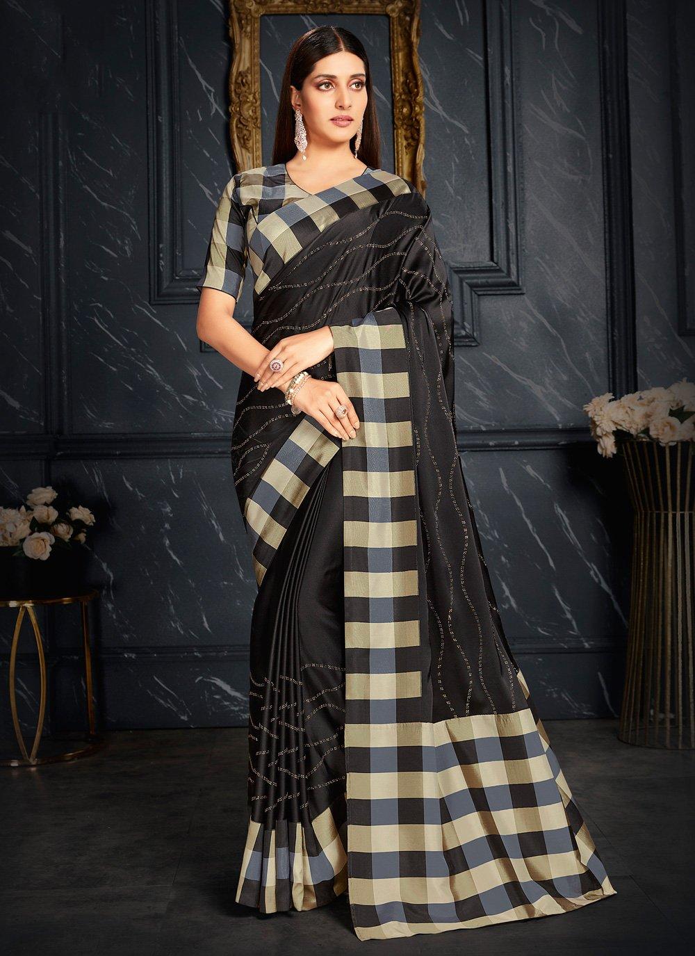 Fancy Fabric Black Fancy Classic Designer Saree